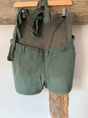 Maternity Over The Bump Khaki Green Belted Shorts Size 14