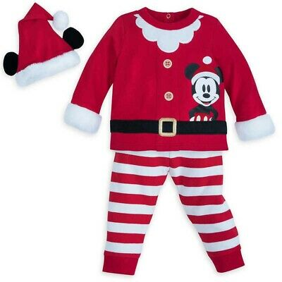 Shop Disney Store Mickey Mouse Santa Outfit Striped With Hat 6-9m Baby Christmas