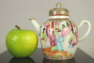 A Chinese Canton famille rose figural teapot 19thc Qing