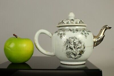 """A Chinese Qianlong period (1735-1796) """"en grisaille"""" teapot with silver spout"""