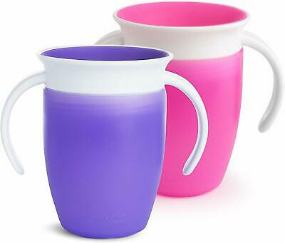 Munchkin Miracle 360 Trainer Cup 207ml / 7oz, 2 Pack, Pink & Purple