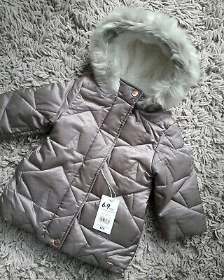 Mothercare Baby Girls Warm Hooded Coat Age 6/9 Months New Lined