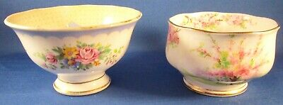 Royal Albert Crown China Prudence & Blossom Time Open Sugar Bowls - England