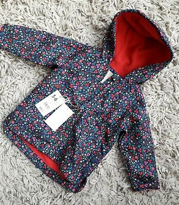Mothercare Baby Girls Hooded Shower Coat Age 3/6 Months New Lined Floral Design