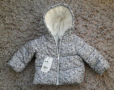 Mothercare Baby Girls Warm Hooded Coat Age 6/9 Months New Fleece  Lined Padded