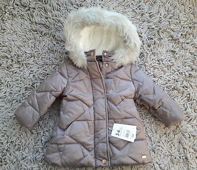 Mothercare Baby Girls Warm Hooded Coat Age 3/6 Months New Lined