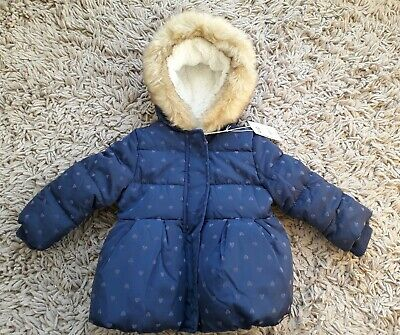 Mothercare Baby Girls Warm Hooded Coat Age 9/12 Months New Lined Padded Blue
