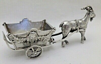 Antique Solid Sterling Silver Cast Miniature Goat Cart London 1901 W Moering