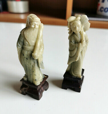 LOT of 2 VINTAGE ANTIQUE CHINESE HAND CARVED SOAPSTONE FIGURES FIGURINES