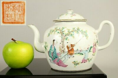 A large Chinese famille rose figural teapot with mark to the base 19thc Qing