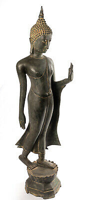 18th Century Antique Sukhothai Bronze Protection Walking Buddha Statue-114cm/46""