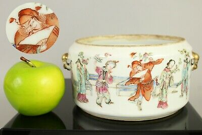 A Chinese famille rose warming pot with Zhong Kui 19thc (could use as plant pot)