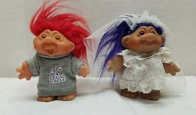 """Vintage Troll Doll Action Figure Toy DAM Norfin 5"""" 80s Lot Wedding Bride Lawyer"""