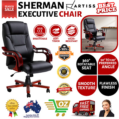 Executive Wooden Office Chair Wood Computer Chairs Leather Seat Sherman Artiss