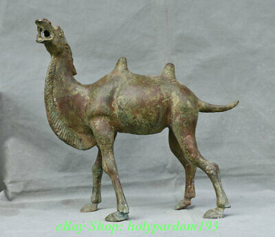 """14"""" Old Chinese Bronze Ware Dynasty Palace Camel llama Animal Sculpture"""