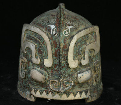 "8"" Ancient Chinese dynasty Palace Old Antique Bronze Silver Warrior Helmet Cap"