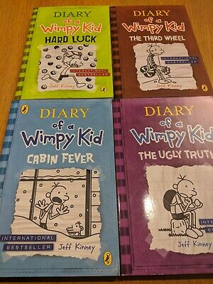 Diary of a Wimpy Kid Books x4 Paperback Hard Luck,Cabin,3rd wheel,Ugly Truth VGC
