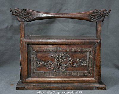 "12.4"" Chinese Huanghuali Wood Flower Bird Dragon Head Drawer Portable Food Box Z"