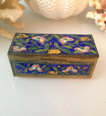 Antique Chinese Cloisonne Enamel Floral Brass Hinged Stamp Trinket Box China