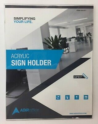 "AdirOffice Clear 8.5"" x 11"" Wall Mount Side-Loading Acrylic Sign Holder"