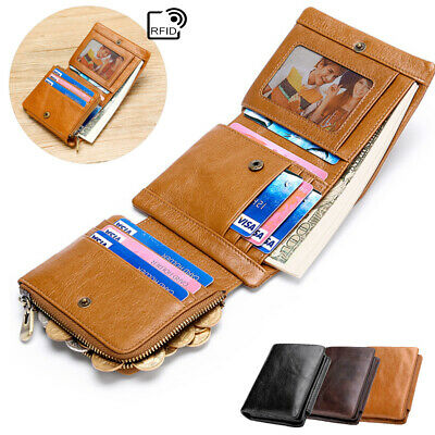 Trifold Mens Leather Wallet RFID Blocking Credit Card Cash Coin Holder Purse
