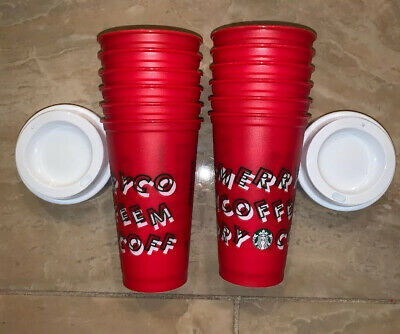 Starbucks Holiday 2019 Red Reusable Hot Cup 16oz Plastic (Lot Of 12) NEW W/ Lids