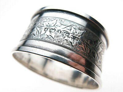 Antique Victorian Sterling Silver Napkin Ring Hallmark 1885 Floral Engraving