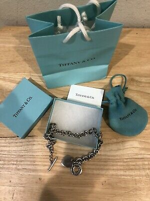 """Authentic Tiffany & Co Sterling Silver Heart Toggle Choker Charm Necklace 16"""""""