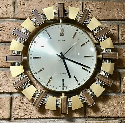 Vintage Retro 1970s Metamec Wood & Brass Effect Starburst Wall Clock Battery FWO