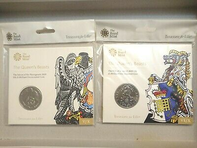 Royal Mint 2019 Queens Beasts BU £5 Five Pound Coin The Falcon,The Yale