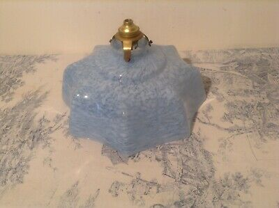 Vintage French Blue Marbled Glass Mid Century Pendant Ceiling Light