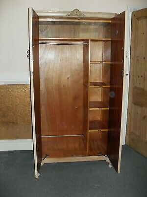 antique Vintage Maples double wardrobe in light finish burled walnut