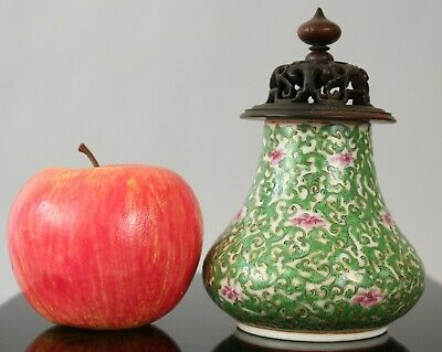 A rare Chinese Thai Bencharong Canton vase with wood lid 19thc Qing