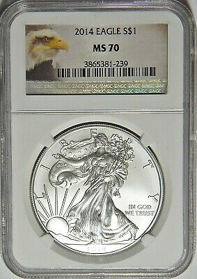 NGC MS70 2014 1oz AMERICAN SILVER EAGLE NO RESERVES S-8