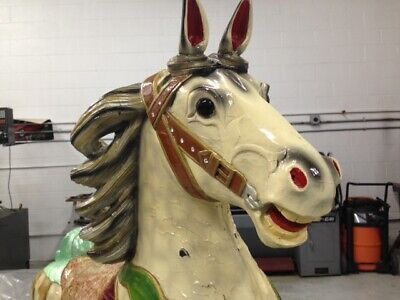 Antique Carousel Horse hand carved wood
