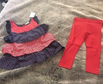 LADYBIRD Frill Top Leggings Outfit Set Age 4-5 NEW Red Navy Blue Polka Dot