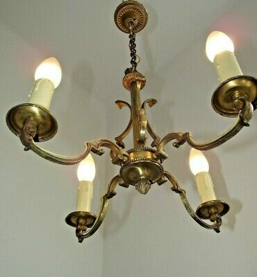 Beautiful Antique French Art Nouveau Style 4 Scrolled Arm Bronze Chandelier 1464