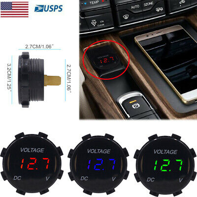 12V Digital Voltmeter Voltage LED Gauge Panel Display Meter For Motorcycle Car