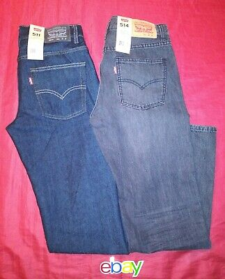 2 PAIR LEVI'S 511 514 Slim STRAIGT BLUE BLACK Dark JEANS 28X28 Boys 16R NEW NWT