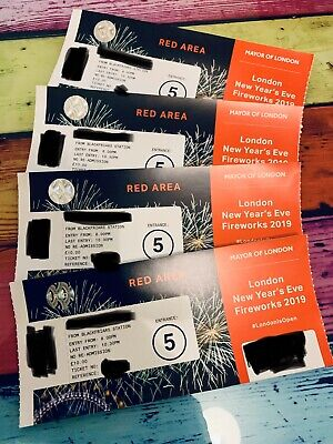 4x London New Year's Eve NYE Fireworks Tickets - Red Zone/Area