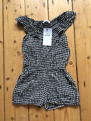Marks & Spencer Girls Black/White Check Shorts Dress, Age 3-4 Years, Bnwt
