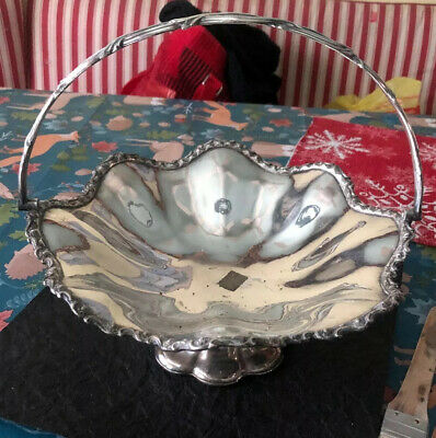 Vintage Silver Plated Candy Footed With Handle Dish