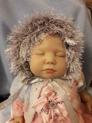 Hand knitted lacy white SILVER fur baby GIRL  reborn christmas bonnet hat 0-3