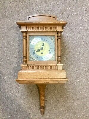 Stunning Vintage Triple Chime Bracket Clock On Wall Bracket By Hermle 8 Rods!