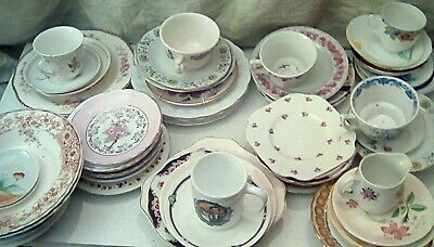 MISMATCHED FLORAL BONE CHINA TEA SET CUPS AND SAUCERS SIDE PLATES and OTHERS