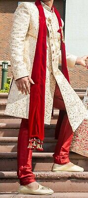 Indian/Asian Cream Men Wedding Suit /Men Sherwani /Groom Suit