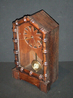 Württemberg Bamboo Style Wooden Clock Case w/ random Movement, Key, Pendulum, +