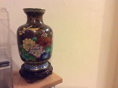 VINTAGE 20TH CENTURY CLOISONNE STYLE VASE with wooden stand