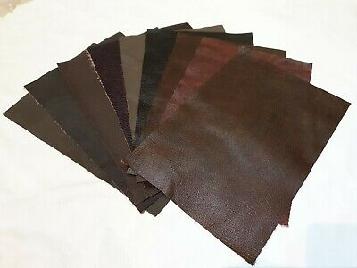 """Shades of Brown 100% leather offcut 12""""×8"""" you get 1 piece 1.1mm  Craft upcycle"""