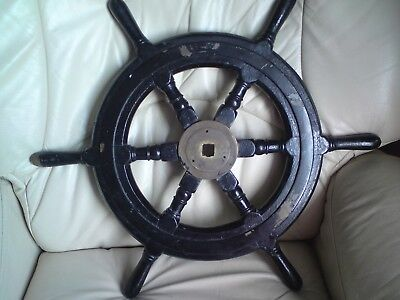Vintage Original Wood Chrome Brass Ships Wheel Maritime Marine Nautical Boat,